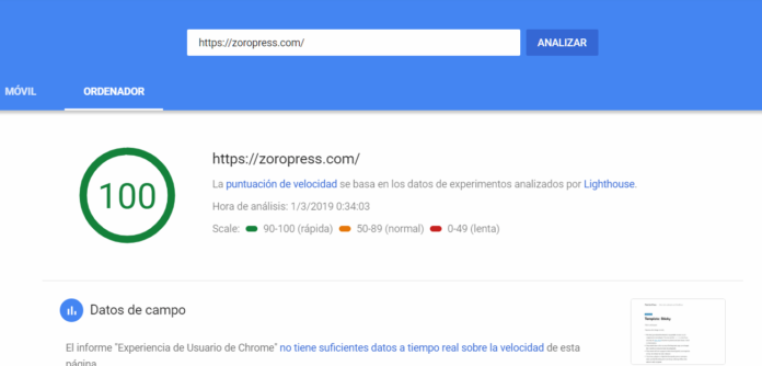 Pagespeed ordenador