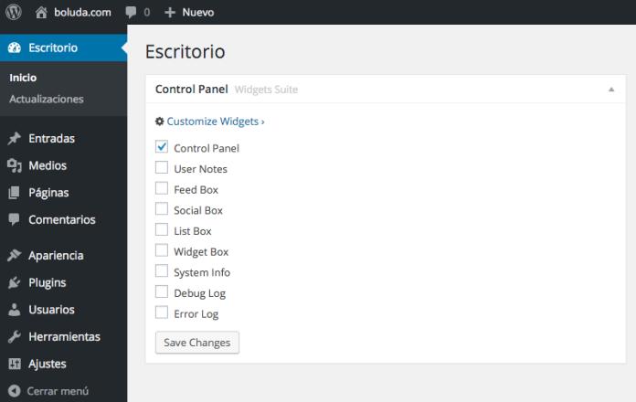 El plugin nos viene con 9 widgets de escritorio