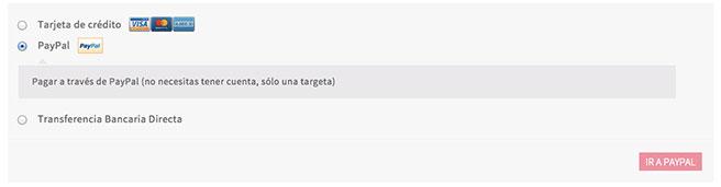 """El botón de """"IR A PAYPAL"""" redirige al usuario a la web de PayPal para hacer el pago"""