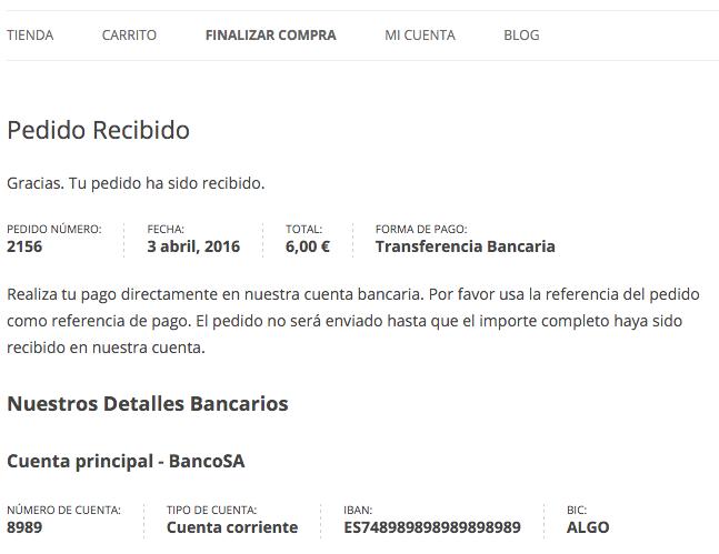 Página de confirmación del pedido pagado por transferencia