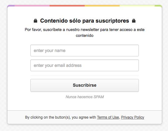 De esta forma pedimos nombre y email