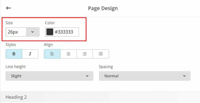 """Personalizar color texto sección """"Page"""""""