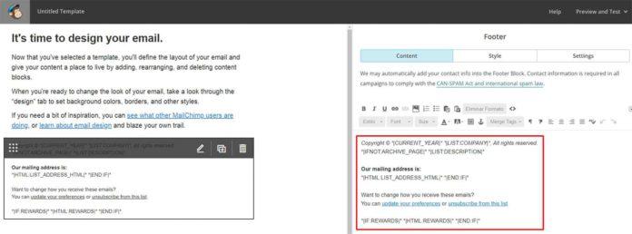 Personalizar footer plantilla MailChimp