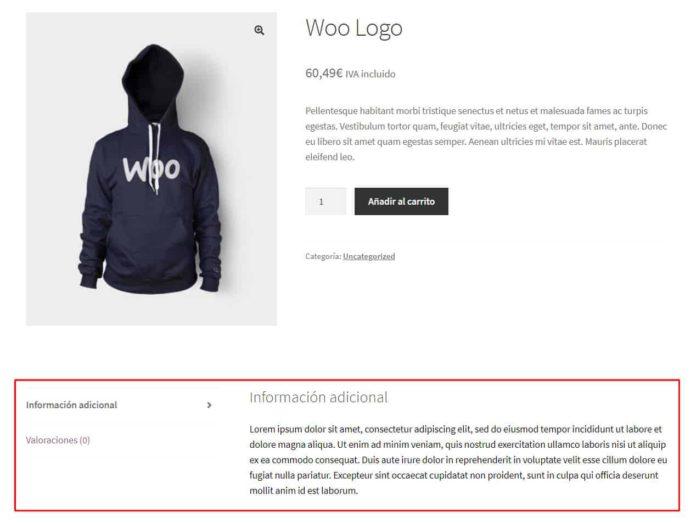 Vista de la página del producto con la nueva pestaña