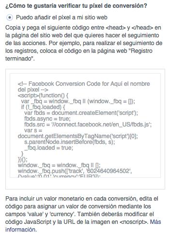 Código del píxel de conversión