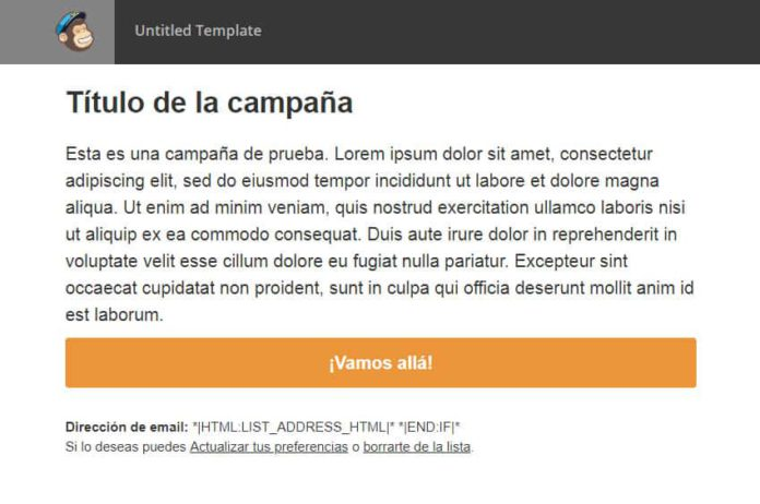 Plantilla email marketing MailChimp finalizada