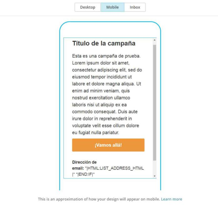 Plantilla email marketing MailChimp vista móvil