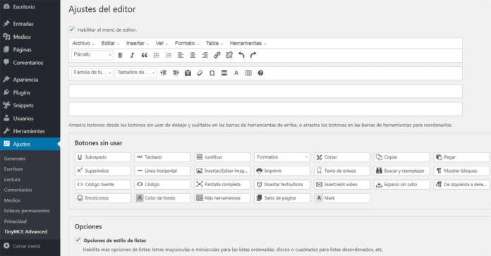 Plugin TinyMCE Advanced ajustes del editor