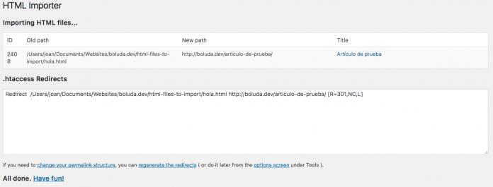 El plugin importará todos los archivos de forma automática