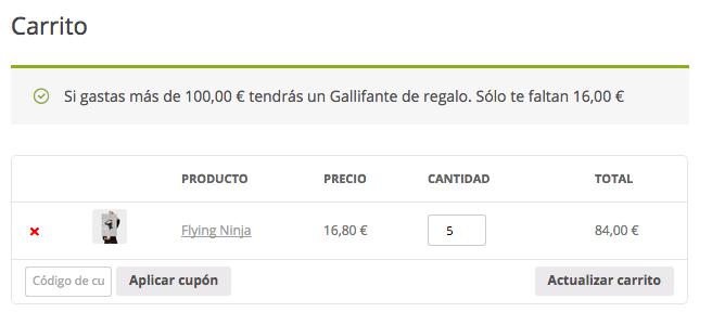 El plugin nos permite regalar un producto si el cliente gasta cierta cantidad