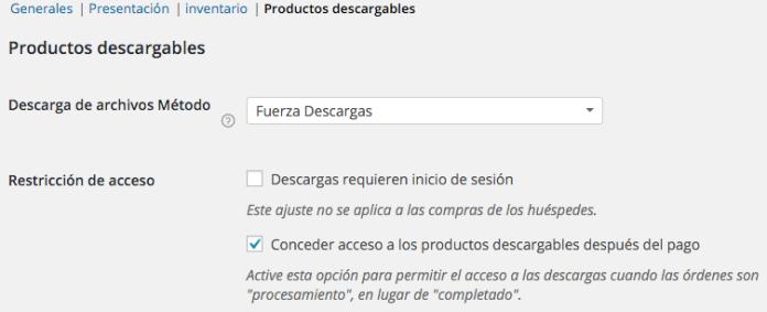 Opciones de productos descargables en WooCommerce