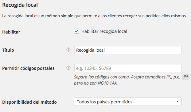 recogida local woocommerce