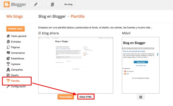 Editamos nuestra plantilla en Blogger