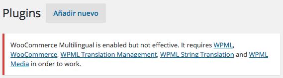 Requerimientos para conectar WPML y WooCommerce