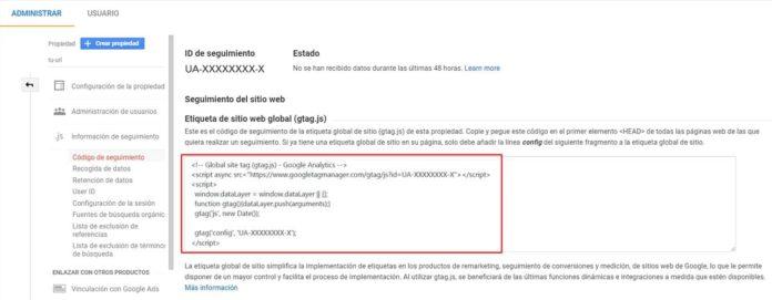 Copiar script para el seguimiento en Google Analytics