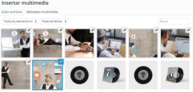 Las imágenes seleccionadas quedan marcadas con un símbolo de verificación.