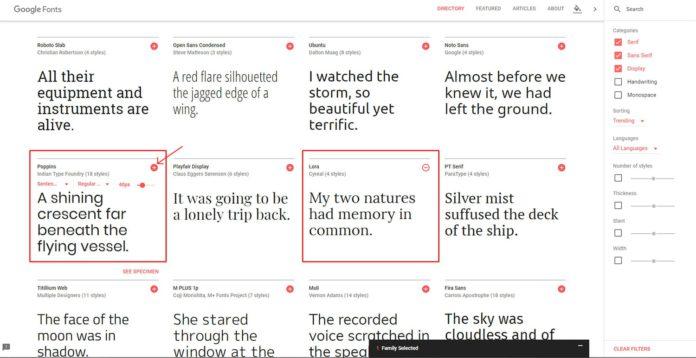 Seleccionar tipografías en Google Fonts