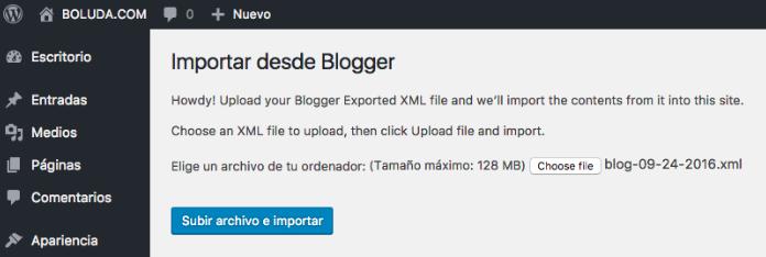 Seleccionamos el XML que acabamos de bajar desde Blogger