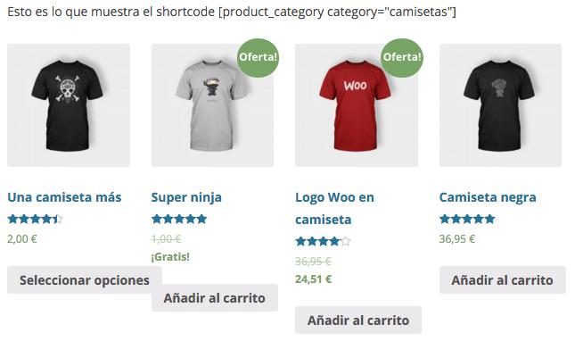 Podemos mostrar los productos de una categoría en concreto