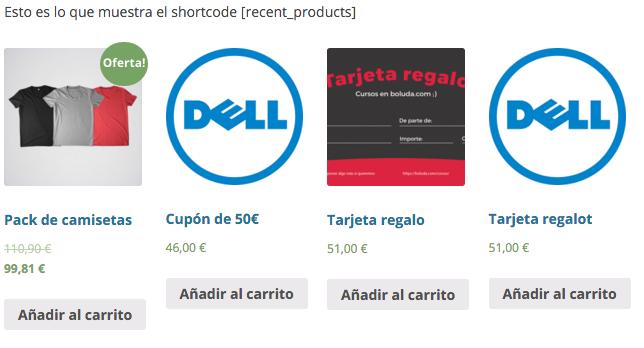 """Con """"recent_products"""" podemos ver los productos recientes"""