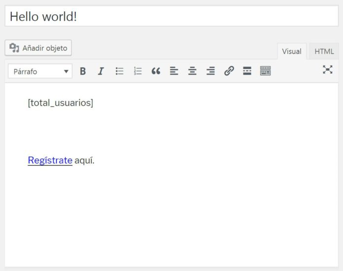 Usar shortcode total usuarios registrados en WordPress