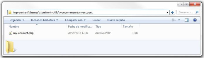 "Copiar ""my-account"" en carpeta ""woocommerce\myaccount"" del child theme"