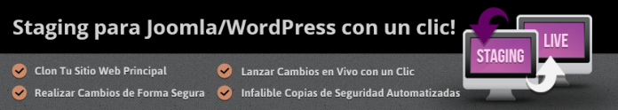 Ofrecen staging para WordPress y Joomla