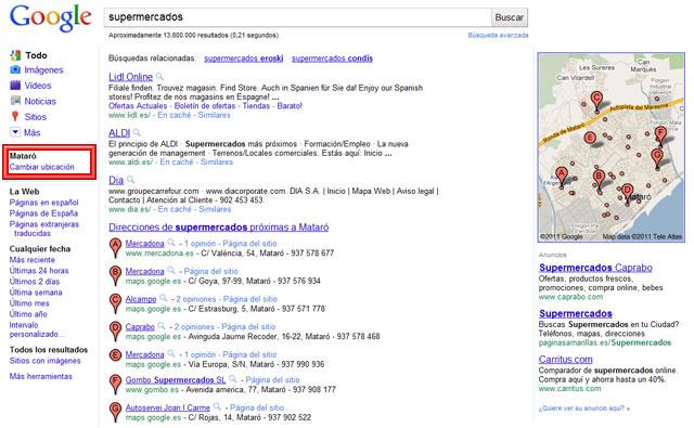 Google detecta mi ubicación física y muestra resultados cercanos