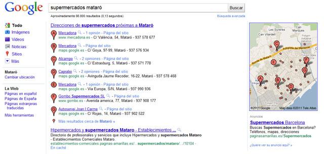 """La búsqueda """"supermercados mataró"""" activa el """"pack"""" de Google Maps"""