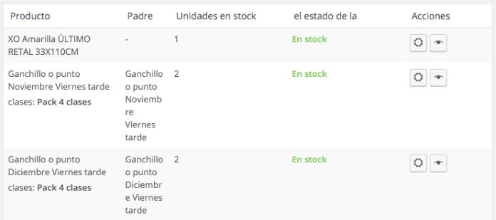 El listado nos muestra los datos más importantes a nivel de inventario