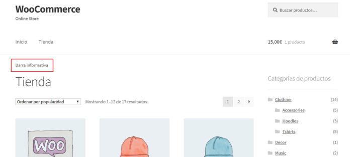 """Tienda con HTML personalizado en widget """"Bajo la cabecera"""""""