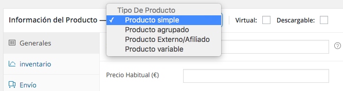 Podemos elegir 4 tipos de productos
