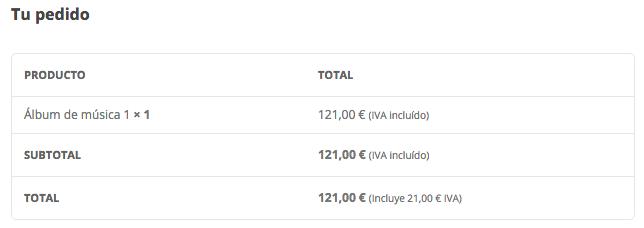 Total con en IVA incluido