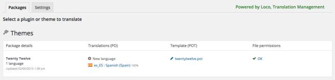 El plugin nos muestra el estado de traducción de todos los themes y plugins