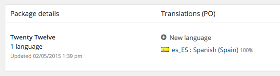 Tenemos que seleccionar la traducción al Español del plugin o theme que queramos modificar