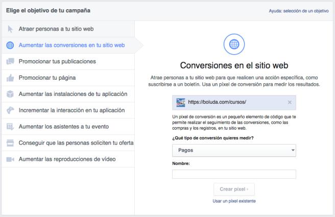 Facebook nos permite hacer campañas para aumentar las conversiones en nuestra web