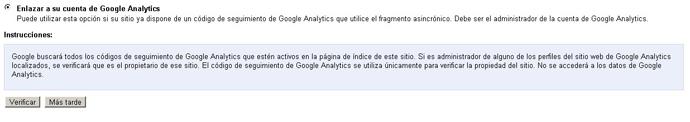 Verificar en WebmasterTools vía Analytics