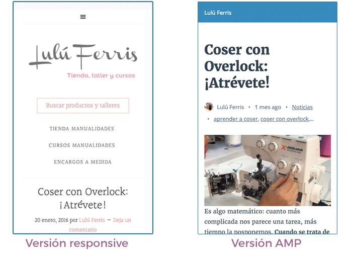 Comparativa entre versión responsive y versión AMP