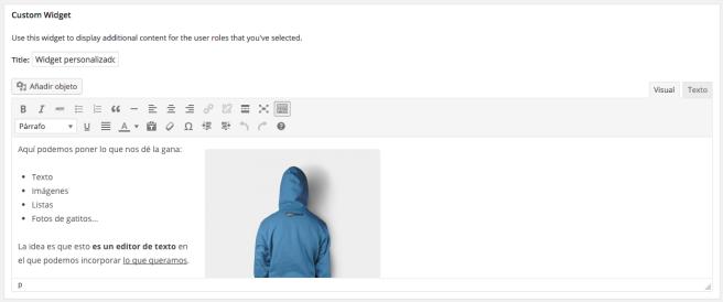 Finalmente, también nos permite crear un widget personalizado